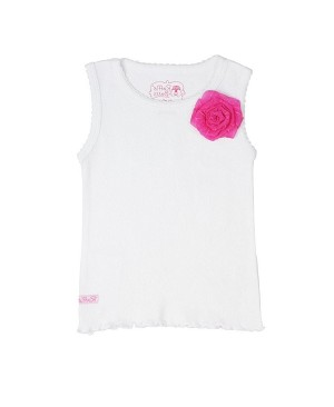 RuffleButts White Tank with Candy Pink Flower