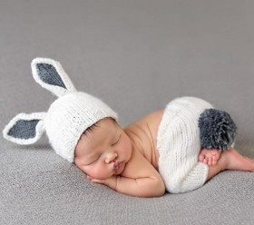 Spring newborn photos are sure to be adorable in the Bailey Bunny Set | SugarBabies Blog - Bunnies & Bowties