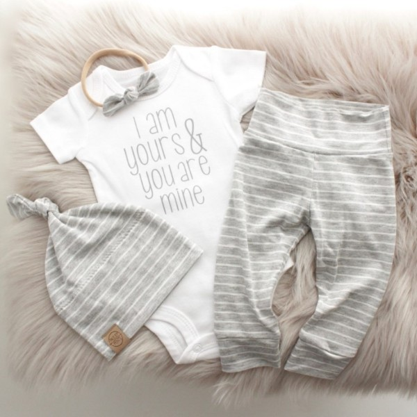I Am Yours & You Are Mine Onesie - White & Grey