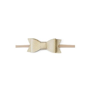 Skinny Leather Bow Tie - Gold