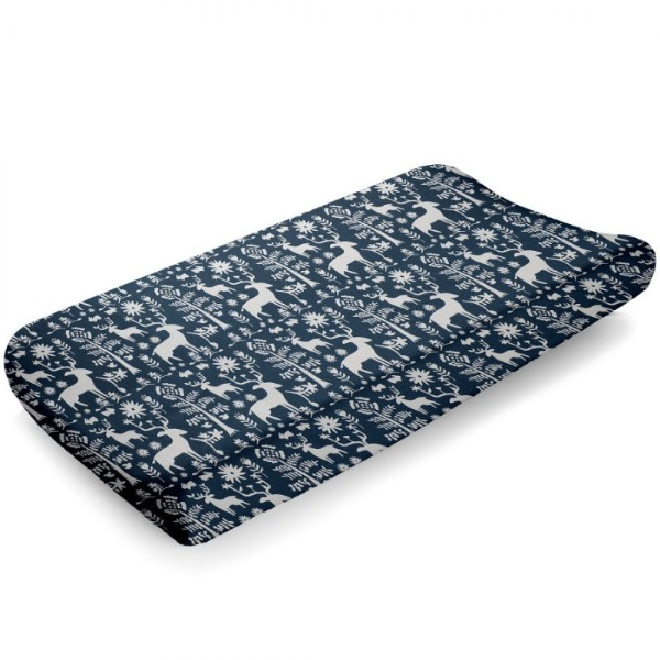Liz and Roo Contoured Changing Pad Cover - Navy Woodland Forest