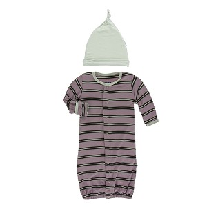 86fa061cc Kickee Pants Print Ruffle Converter Gown & Hat Set in Elderberry Kenya  Stripe| Shop SugarBabies for Your Favorite Baby Sleepers