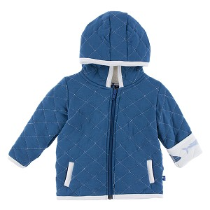 Kickee Pants Quilted Jacket with Sherpa Lined Hoodie - Twilight Megalodon