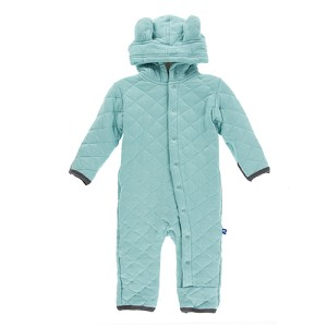 Kickee Pants Coverall with Sherpa Lined Hoodie - Glacier with Stone