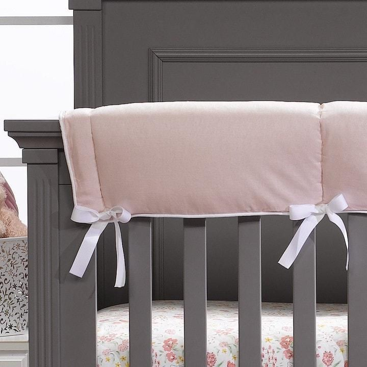 Liz and Roo Crib Rail Cover - Petal Pink Linen with White Trim