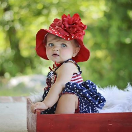 Red Dot Sun Hat with Red Peony