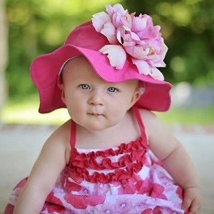 Raspberry Sun Hat with Candy Pink Peony