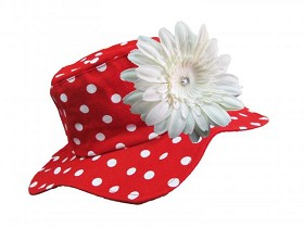Red Dot Sun Hat with White Daisy