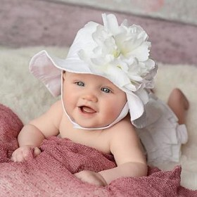 White Sun Hat with White Peony