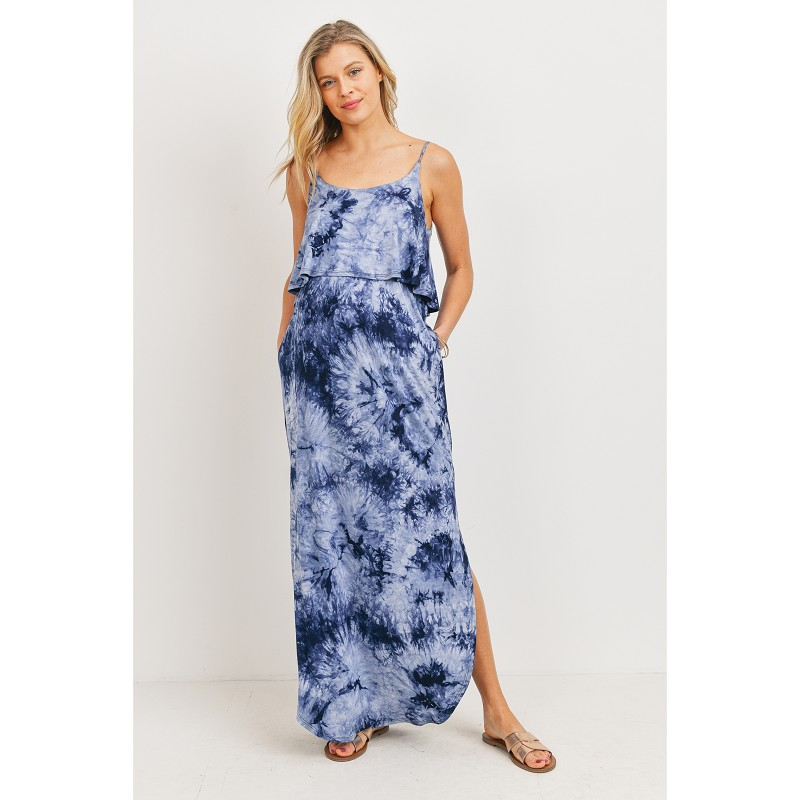 Navy Tie-Dye Maternity/Nursing Dress