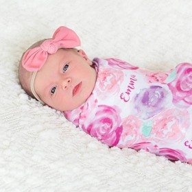 Personalized Swaddle Blanket - Mauve Rose Garden