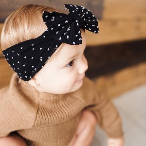 Bow Knot Headband - Shabby Black Dot