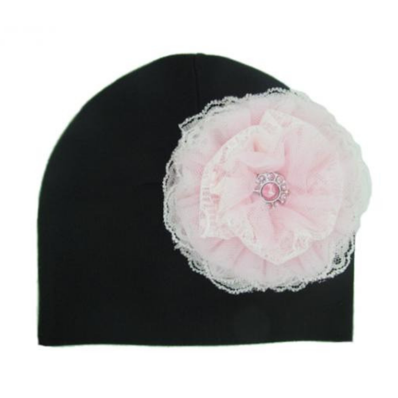 Black Hat with Pale Pink Lace Rose