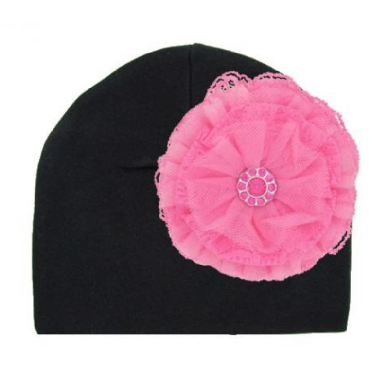 Black Hat with Candy Pink Lace Rose