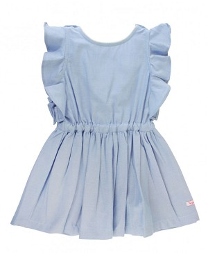 RuffleButts Blue Chambray Ruffle V-Back Dress