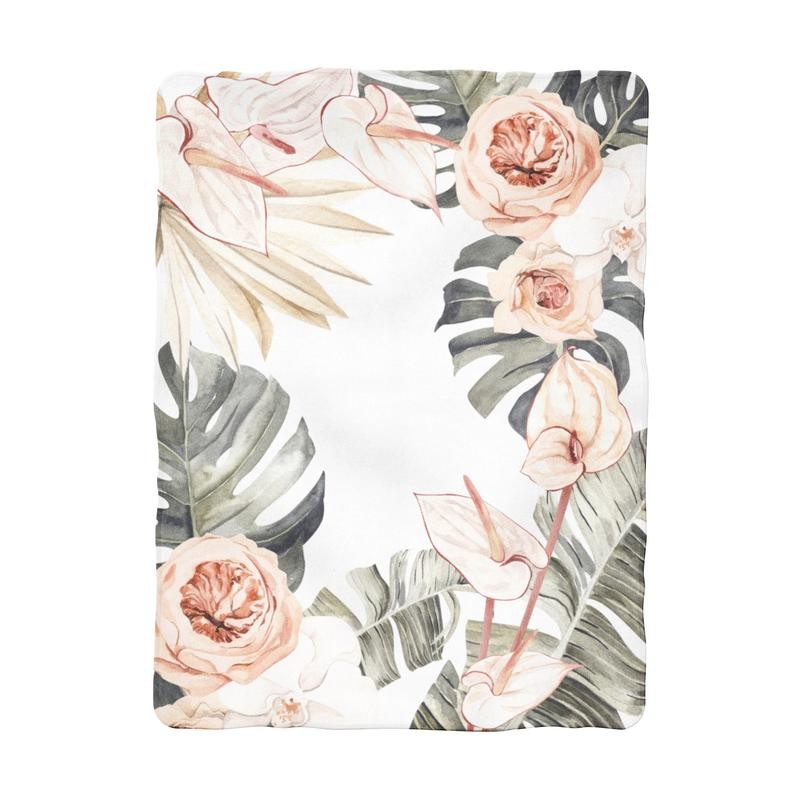 Tropical Boho Floral Blanket