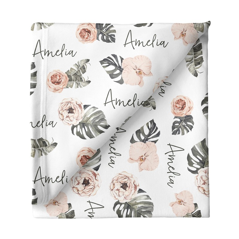 Tropical Floral Personalized Swaddle