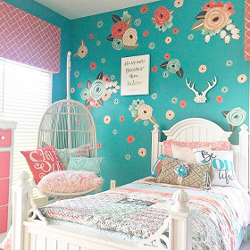 Coral Teal Graphic Flower Wall Decals From Urban Walls - Urban wall decals