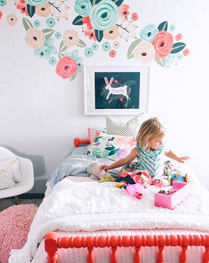 Coral & Teal Graphic Flower Wall Decals - Half Order