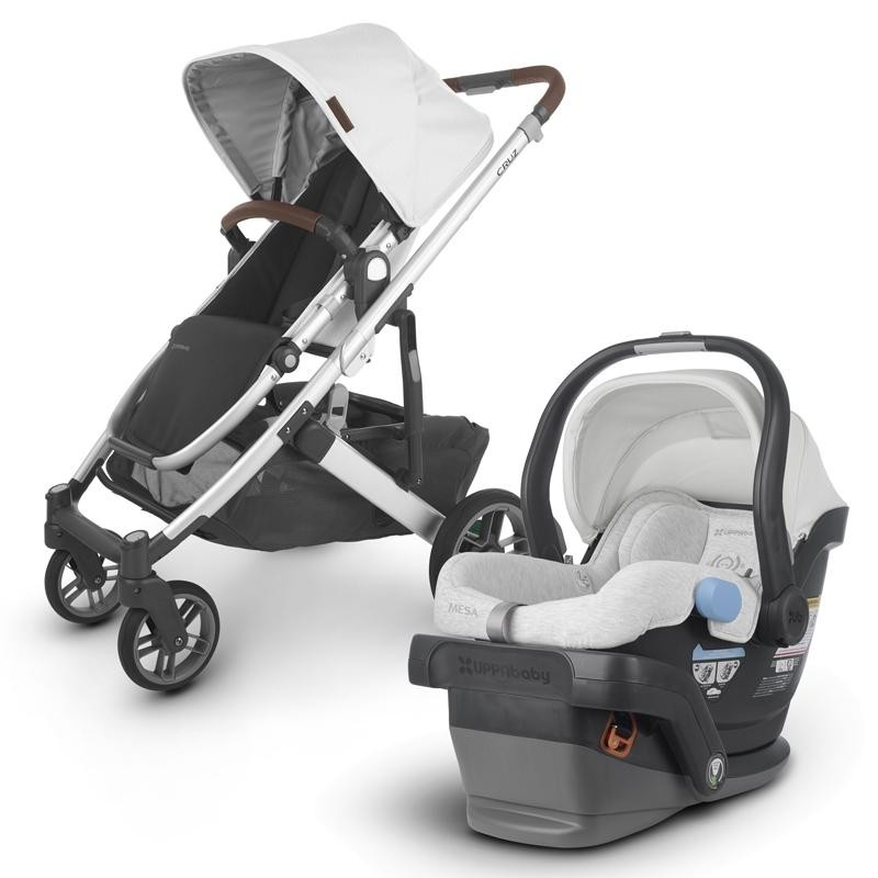 UPPAbaby Cruz V2 Stroller & Mesa Car Seat- Bryce (White Marl/Silver/Chestnut Leather)