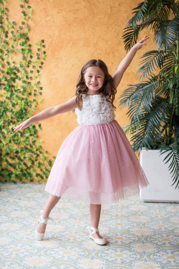 Ruffle Rose Glitter Dress