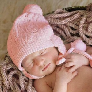 Huggalugs Filigree Blush Pink Lace Beanie Hat