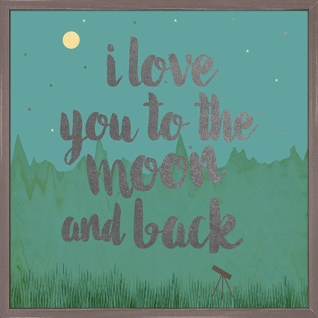Metallic Framed Art - Love You To The Moon