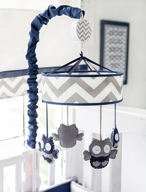 Chevron Owl Mobile in Gray and Navy