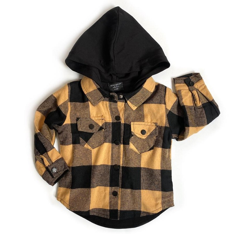 Hooded Plaid Flannel- Yellow & Black