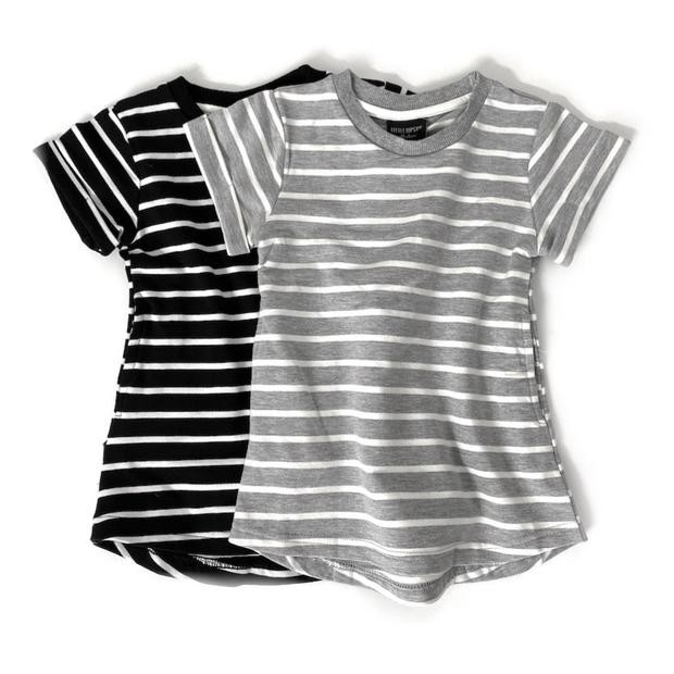 Girl Swoop Dress - Grey Stripes