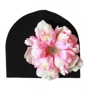Black Hat with Pale Pink Peony