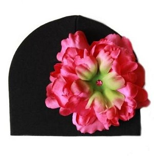 Black Hat with Raspberry Peony