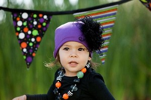 Purple Hat with Black Curly Marabou