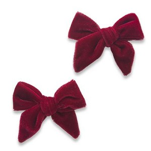Velvet Bow Clips - Rose