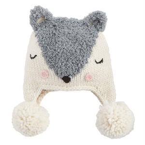 Mud Pie Grey Fox Knit Hat