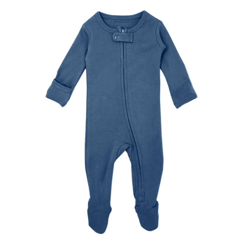 Organic Long Sleeve Footed Overall - Abyss