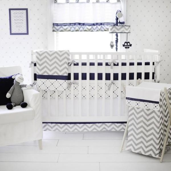 Navy And Gray Chevron Crib Bedding Set, White And Navy Cot Bedding