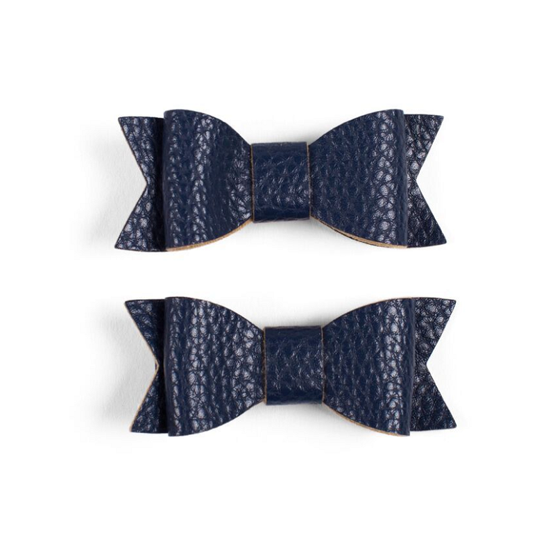 Leather Bow Clips - Navy