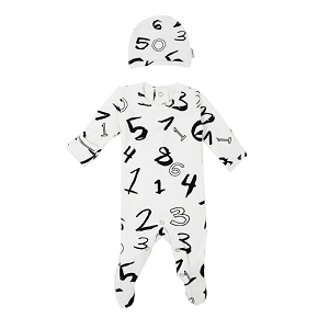 Organic Long Sleeve Footed Overall Set - Numbers