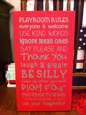 Twelve Timbers Playroom Rules Wall Panel - Customizable!