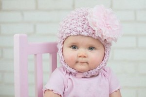 Pale Pink Pretty Pixie Hat with Pale Pink Lace Rose