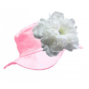 Pale Pink Sun Hat with White Peony