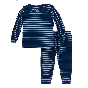 a96c2243a Kickee Pants Print Pajama Set in Tokyo Navy Stripe | Shop Cozy Bamboo Pj's  for Little Boys at SugarBabies!