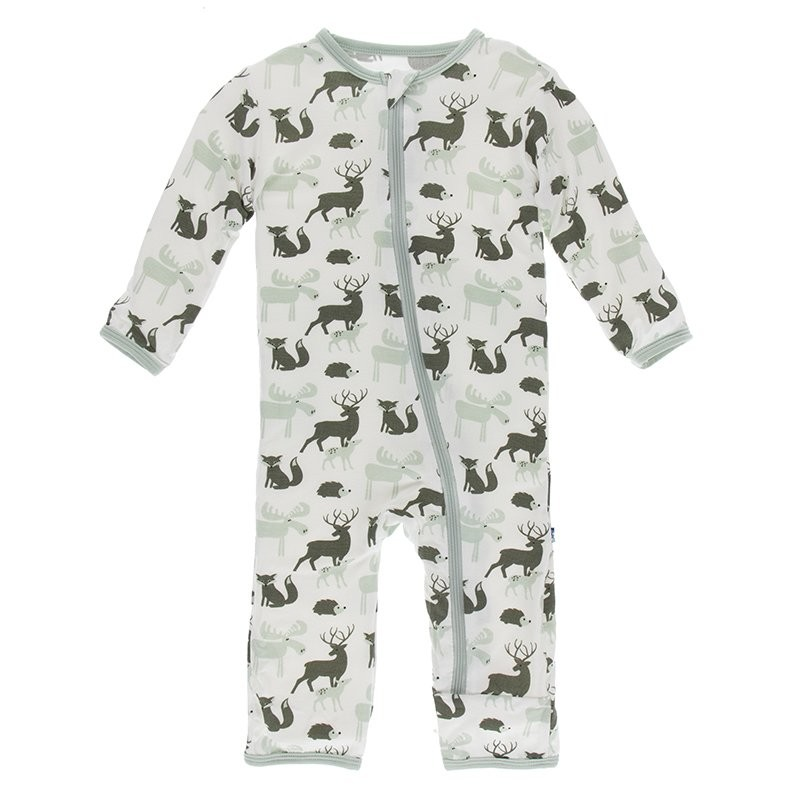 Kickee Pants Print Coverall with Zipper in Natural Forest Animals