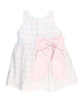 RuffleButts Pink Stripe Sateen Bow Dress