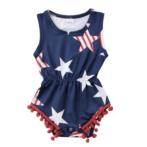 5173bb36f3 Stars & Stripes Pom Pom Romper | Shop Spring Baby Girl at SugarBabies!