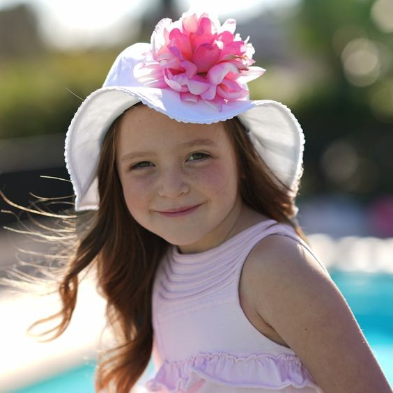 White Stella Sun Hat with Pink Peony