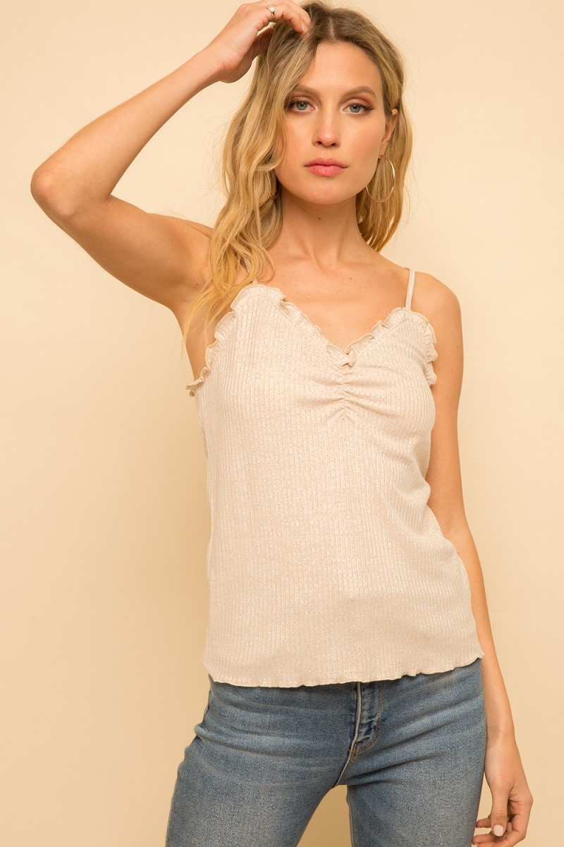 Taupe Ribbed Tank Top