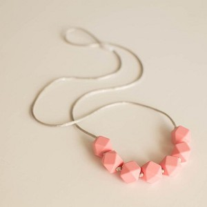 Geo Teething Necklace - Petal Pink