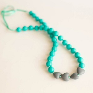 Brave Teething Necklace - Teal & Slate